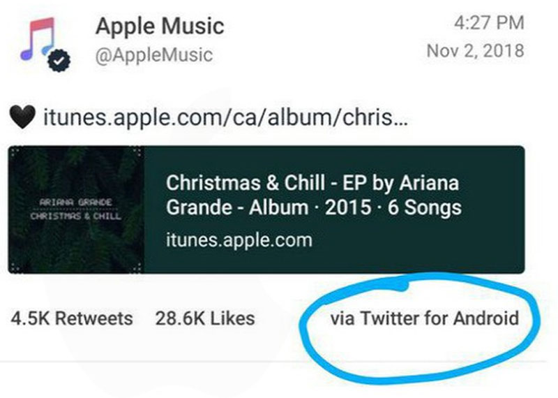 Apple Music Phat Hien Tweet Den Tu Smartphone Android Tren Iphone 01