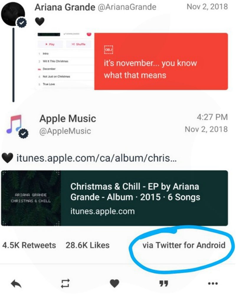 Apple Music Phat Hien Tweet Den Tu Smartphone Android Tren Iphone 02