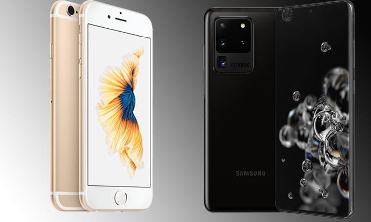 iPhone 6s hay Samsung Galaxy S20
