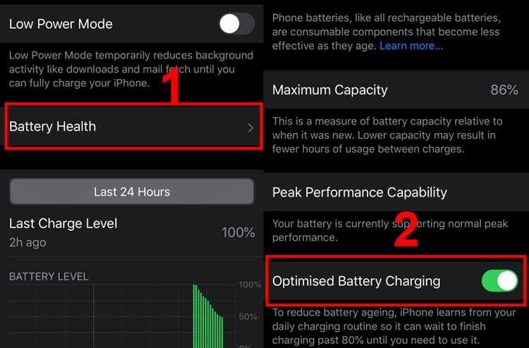 tính năng Optimised Battery Charging